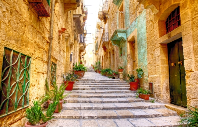 Typical narrow street in Valetta