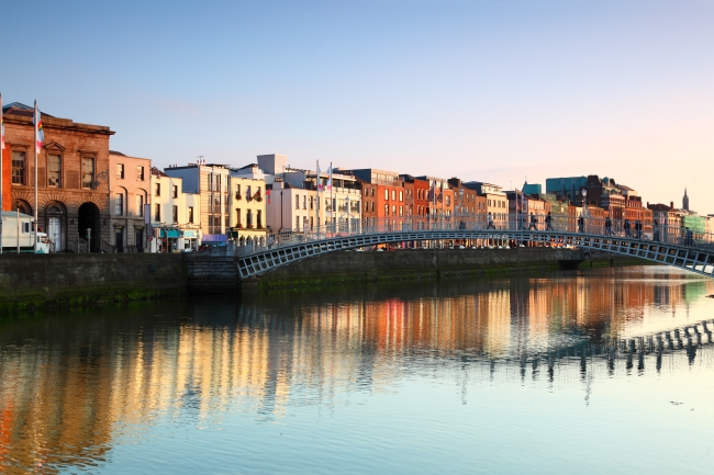 Ha'penny Bridge is pedestrian bridge built in 1816 over River Liffey in Dublin, Ireland