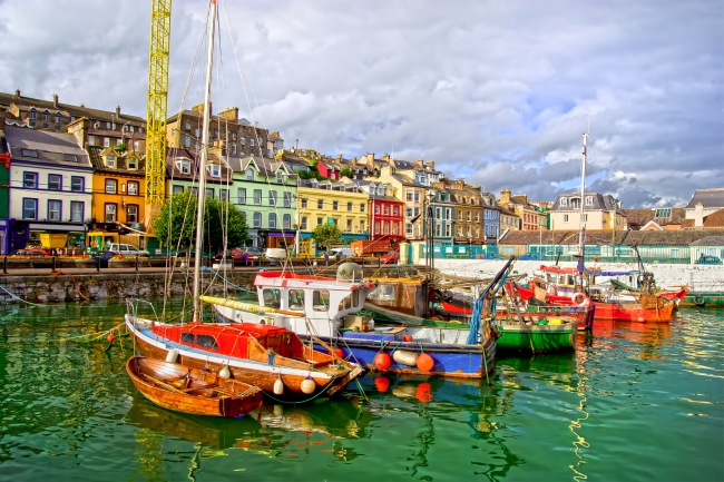Picturesque scenery of the Cobh town harbour in Ireland, Cork