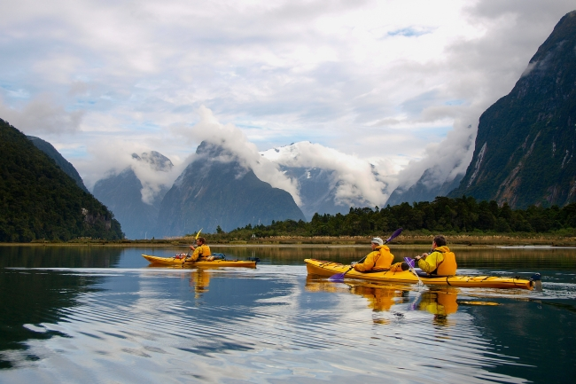 Sea kayak in Milford Sound